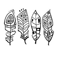 Ethnic Feathers Set. Hand drawn vector illustration. Design element