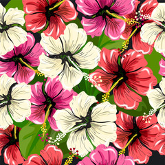 Seamless pattern with exotic red   hibiscus flowers on black