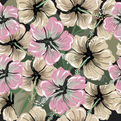 Seamless pattern with exotic pink hibiscus flowers on black