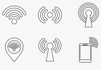16 Outlined Wifi and Connectivity Icons