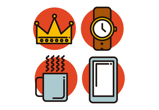 4 Simple Cartoon Style Trend Icons