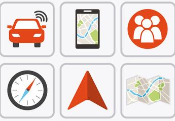 9 Flat Square GPS and Map Icons