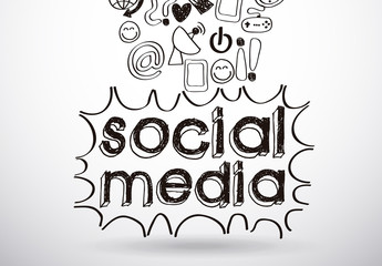 Hand-Drawn Social Media Icon Set and Text