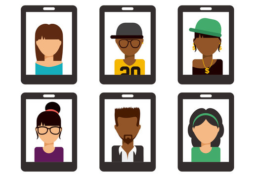 Smartphone Icon Set with Illustrations of People 2