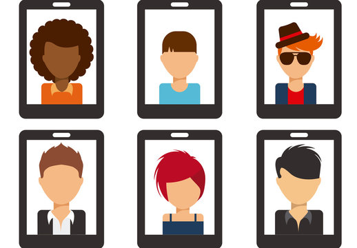 Smartphone Icon Set with Illustrations of People 3