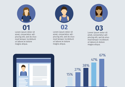 Social Media Data Infographic with Tablet Element and Young People Icons