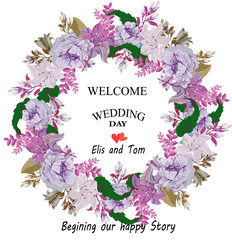 Wedding romantic  round invitation card with the frame of  pink poppies flowers