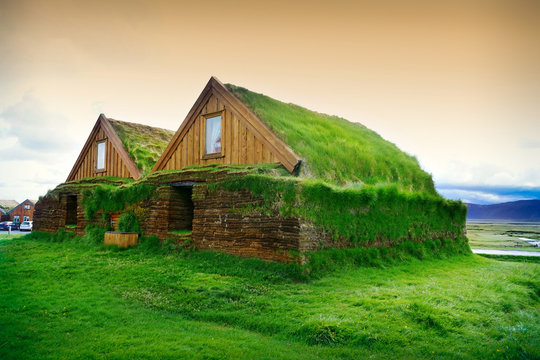 Typical small houses in Iceland. Old architecture with grassy roof