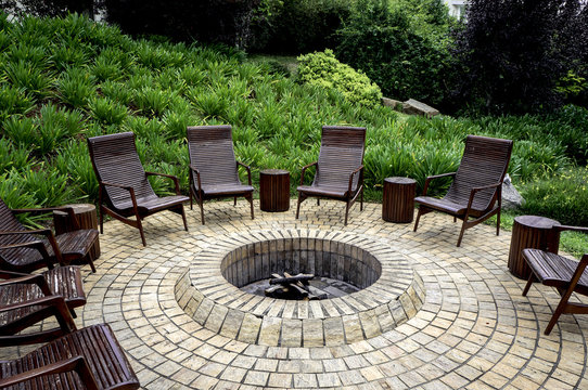fire pit rustic backyard chair