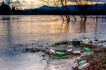Plastic garbage in the river