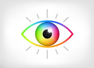 Colorful eye or eyeball vector icon illustration. Vision logo design concept of full color spectrum.