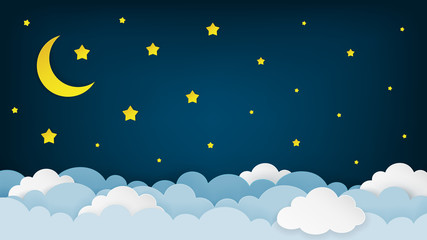 Crescent moon, stars, and clouds on the midnight sky background. Night sky scenery background. Paper art style. Vector Illustration.