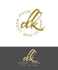 D K. Initials Monogram Logo Design. Dry Brush Calligraphy