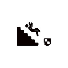 the fall of a man on the stairs icon. Elements of insurance icon. Premium quality graphic design. Signs and symbol collection icon for websites, web design, mobile app, info graphics