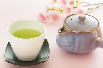 お茶と桜で春のイメージ