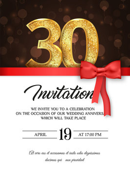 Template of invitation card to the day of the thirtieth anniversary with abstract text vector illustration. To 30 th years eve card invite