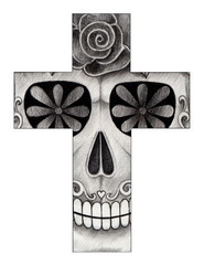 Art Skull Cross. Hand pencil drawing on paper.