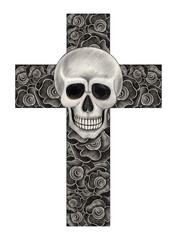 Art Skull on rose cross. Hand pencil drawing on paper.
