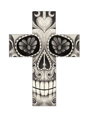 Art Skull Cross .Hand pencil drawing on paper.