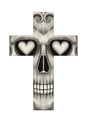 Art Skull Cross. Hand pencil drawing on paper.