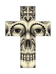 Art Skull Cross. Hand pencil on paper.