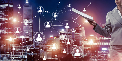 Concept of modern business networking that connect and cooperate