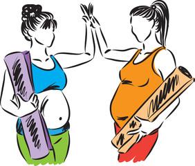 two pregnant women yoga fitness vector illustration