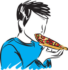 boy eating pizza vector illustration