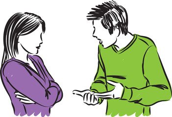 couple man and woman arguing vector illustration