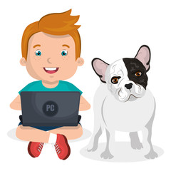 boy with computer laptop and dog character