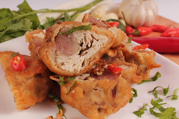Indonesian traditional food : stuffed soybean cake