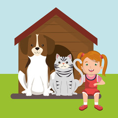 girl with dog and cat characters