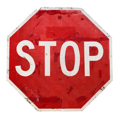 Isolated worn stop sign.