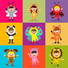 kids in animal costume seamless