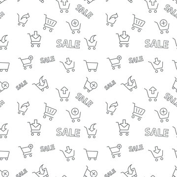 Seamless shopping sale pattern on white background