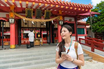 Female traveler in Naminoue Shrine ,Japan