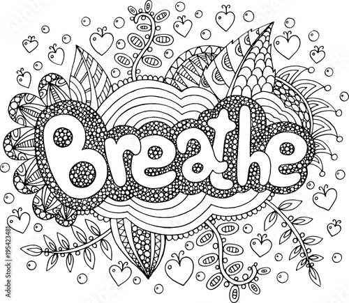 Quot Coloring Page For Adults With Mandala And Breathe Word