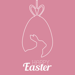 Happy Easter greeting card with hand drawn egg. Vector.