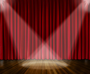 Background. lighting on stage. red curtain and wooden floor interior background. Interior template for product display, interior theater, interior stage background