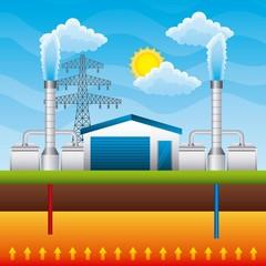 geothermal power plant generator and storage underground - renewable energy vector illustration