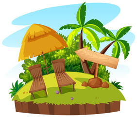 Two seats and umbrella on island
