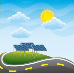 landscape road and panels solar environment - renewable energy vector illustration