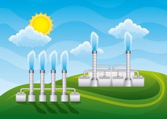 landscape power geothermal station with chimneys - renewable energy vector illustration