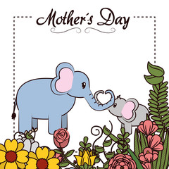 Happy mothers day card with cute animals