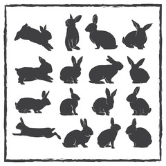 rabbit silhouette vector set