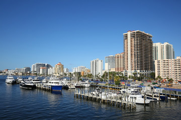 Clear blue skies over Fort Lauderdale beach skyline at Las Olas Boulevard and the Intracoastal Waterway, steps away from Fort Lauderdale Beach.