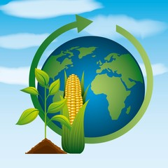 world plant corn ethanol gas energy clean environment biofuel vector illustration
