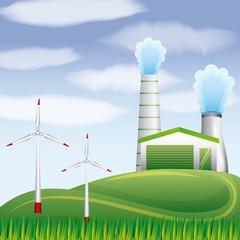 biofuel plant geothermal turbines winds on landscape vector illustration
