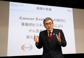 Eisai Co Ltd Representative Corporate Officer and CEO Haruo Naito attends a news conference at the company headquarters in Tokyo