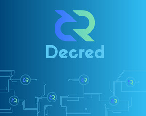 Blockchain decred symbol crypto currency background
